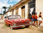 red car and girls trinidad cuba